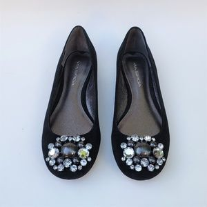 Via Spiga Black Suede Jeweled Slip-on Shoes 7